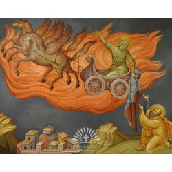 The icon of Saint Elijah, raised to heaven in the chariot of fire